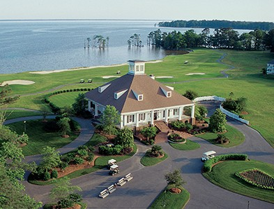 Aerial clubhouse water and golf at Albemarle Plantation in Hertford, North Carolina