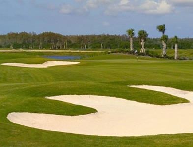 Golf course bunkers at Del Webb Naples in Ave Maria, Florida