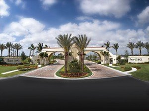 Palm lined entrance at Minto PortoSol in Royal Palm Beach, Florida