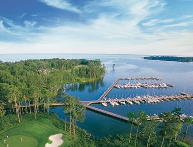 Aerial marina, boats, water and golf at Albemarle Plantation in Hertford, North Carolina