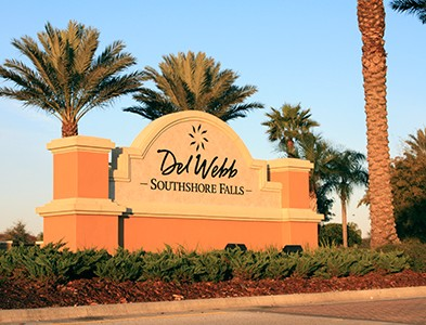 Del Webb Southshore Falls in Apollo Beach Florida entrance