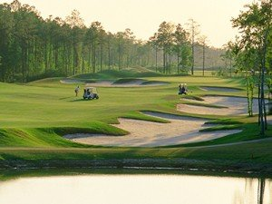 Golf course bunkers at sunset at Compass Pointe in Leland, North Carolina