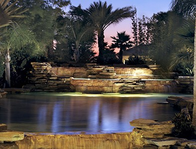Water feature and falls at Del Webb Southshore Falls in Apollo Beach Florida