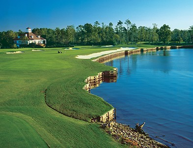 Waterfront golf course and clubhouse at Albemarle Plantation in Hertford, North Carolina