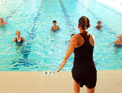Fitness water aerobics in swimming pool at On Top of the World Communities in Ocala, Florida