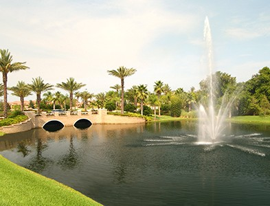 Pond and water feature fountain at Del Webb Southshore Falls in Apollo Beach Florida