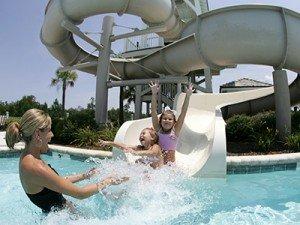 Savannah Quarters water slide at the swimming pool