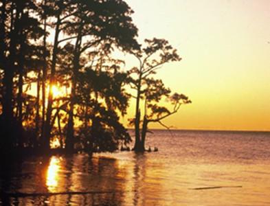 Waterfront sunset at Albemarle Plantation in Hertford, North Carolina