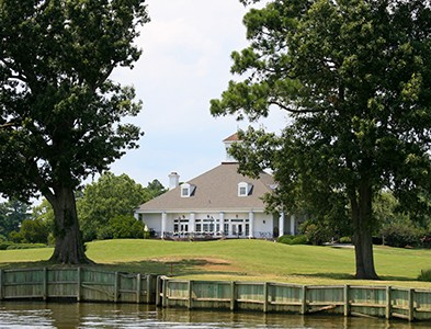 Community clubhouse on water at Albemarle Plantation in Hertford, North Carolina