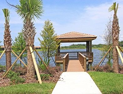 Lake and dock at Del Webb Southshore Falls in Apollo Beach Florida