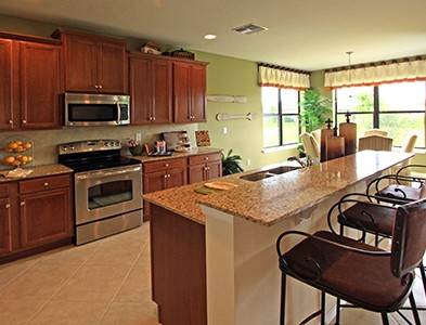 House interior kitchen at Del Webb Southshore Falls in Apollo Beach Florida