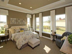 House interior master bedroom at Trilogy Orlando in Groveland, Florida