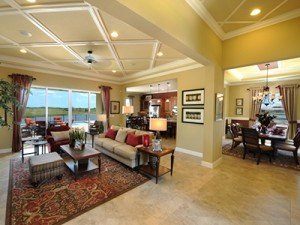 House interior living room, kitchen and dining room at Minto TownPark in Port Saint Lucie, Florida