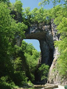 In the South, you might also run across places like the Natural Bridge in Virginia.