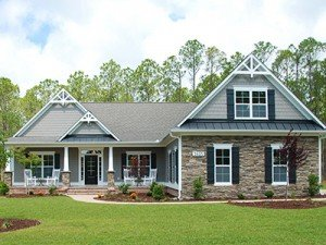 Two story house exterior at Logan Homes in Leland, North Carolina