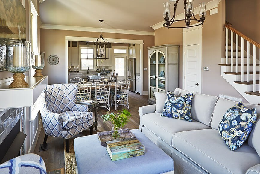 Cottage living cozy up on the coast Open floor plan living room furniture arrangement
