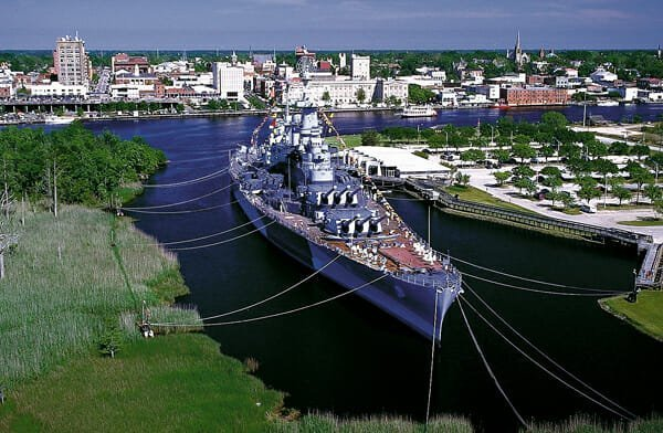 The USS North Carolina was one of the most decorated battleships of World War II. Moored across the Cape Fear River from Wilmington, it's now one of the state's most popular historic sites.
