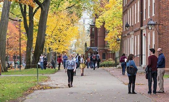 CAMBRIDGE, MA, USA - NOVEMBER 2, 2013: Harvard Yard, old heart of Harvard University campus, on a beautiful Fall day in Cambridge, MA, USA on November 2, 2013.