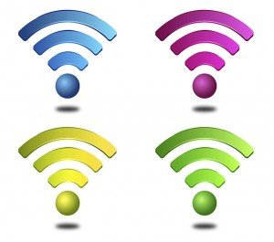 Wireless symbols in different colors, blue, green, yellow and purple