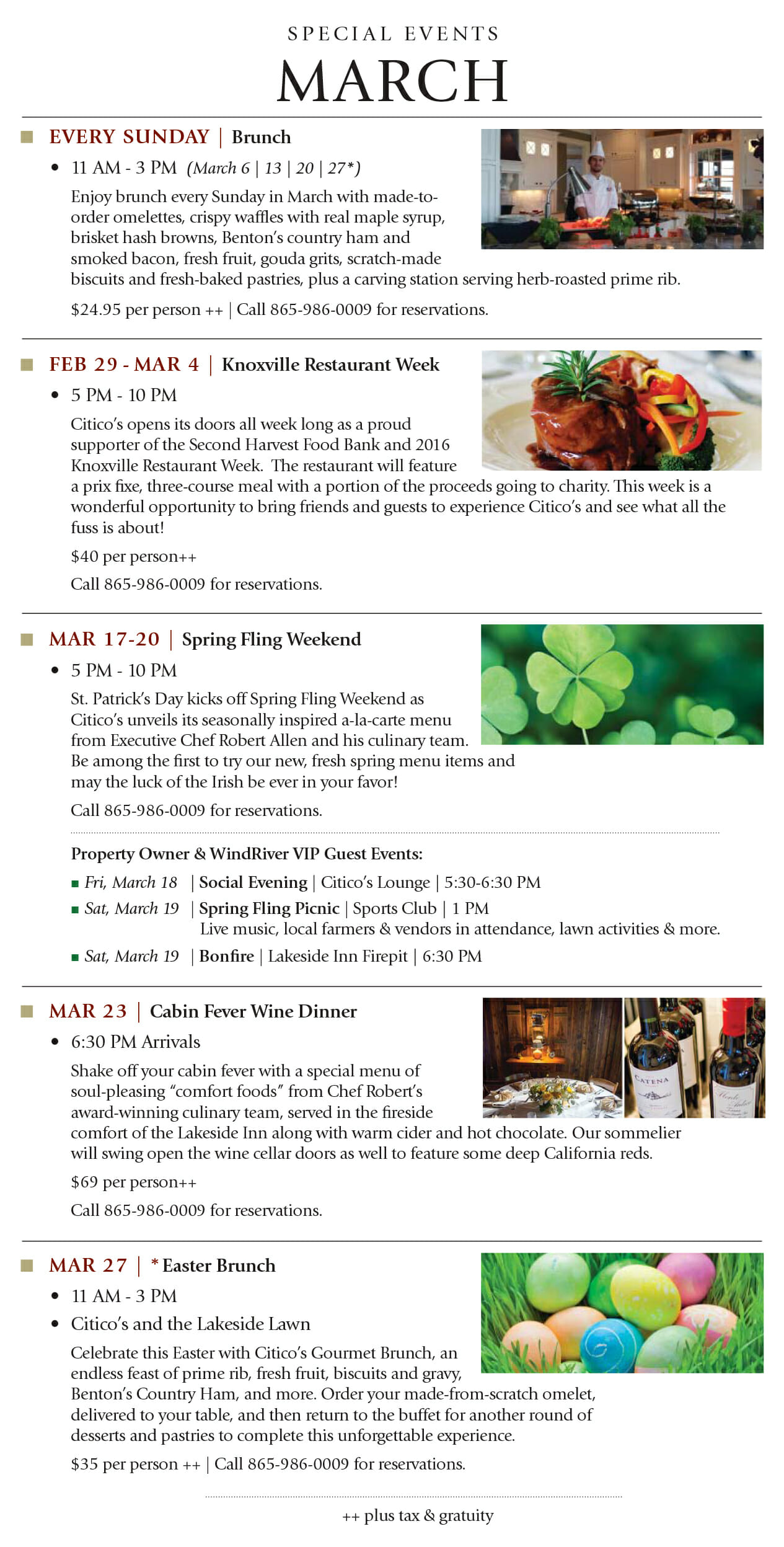 March Special Events at Citico's at WindRiver
